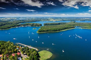 Panel Szklany Rzeki i Jeziora Mazury-yachts to Lake Kisajno in Giżycko
