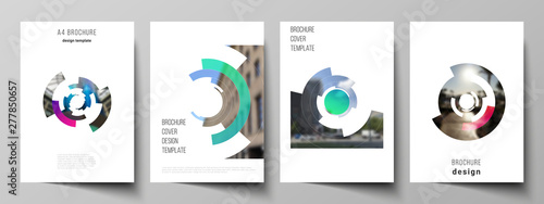 Vector layout of A4 format modern cover mockups design templates for brochure, magazine, flyer, booklet, report Wallpaper Mural
