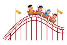 Happey Children In The Rollercoaster