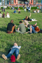 Girl On The Green Grass. People At An Open-air Concert