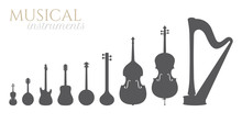 Vector Black Silhouettes Of Musical Instruments: Violin, Mandolin, Guitar, Banjo, Sitar, Double Bass, Cello, Harp. Isolated On White Background.