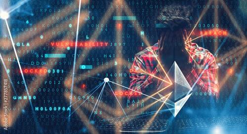 Pinturas sobre lienzo  Hacker hunting for code concept