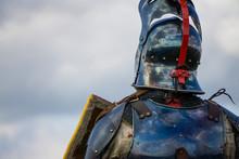 A Brave Medieval Knight Wering A Helmet