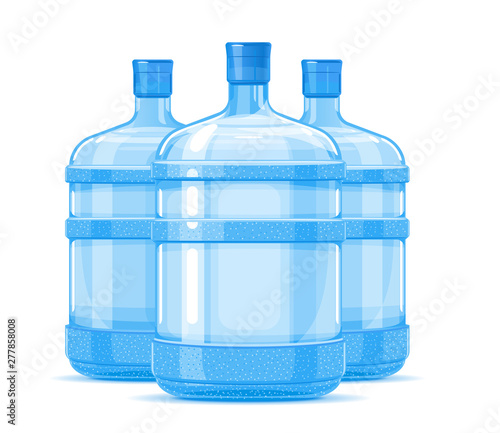 Fotografie, Obraz  Group of tree five gallon big plastic water bottle containers quality illustrati