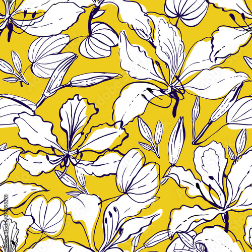 Obraz na plátně Seamless vector hand drawn floral pattern hawaii style with orchid tree flowers - bauhinia, buds and leaves, partially colored