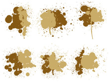 Collection Of Artistic Grungy Paint Drop, Hand Made Creative Splash Or Splatter Stroke Set Isolated White Background. Abstract Grunge Dirty Coffee Stain Group Or Graphic Art Vintage Decoration