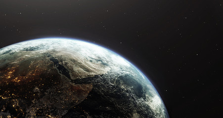 Earth planet viewed from space showing Africa and the middle east countries, 3d render of planet Earth, elements of this image provided by NASA