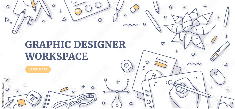 Fototapeta Creative designer desk with stationary objects pencils, markers and design symbols. Top view on graphic designer workspace. Flat lay. Doodle illustration for web banners or hero images
