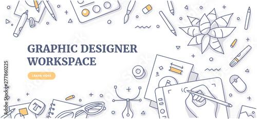 Fotografie, Tablou Creative designer desk with stationary objects pencils, markers and design symbols