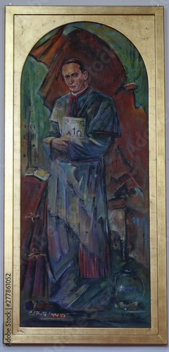 Leinwand Poster Blessed Aloysius Stepinac, altarpiece in cathedral of Assumption in Varazdin, Cr
