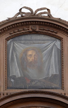 Veil Of Veronica Above The Door Of The Sacristy, Cistercian Abbey Of Bronnbach In Reicholzheim Near Wertheim, Germany