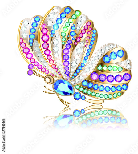 Valokuva Jewelry gold butterfly brooch pendant in precious stones