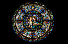 Virgin Mary With Baby Jesus, Stained Glass Window In The Cathedral Of Saint Lawrence In Lugano, Switzerland