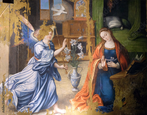 Fotografia Annunciation of the Virgin Mary, altarpiece in the Saint Germain l'Auxerrois chu