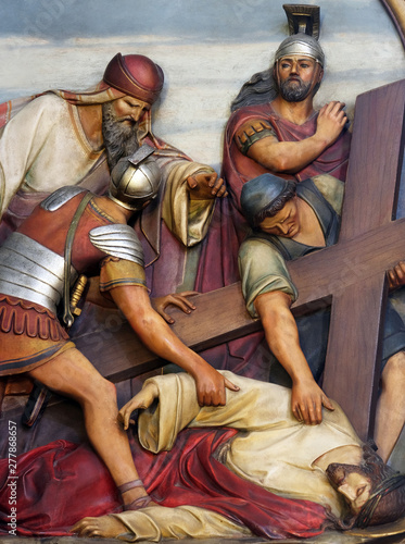 Canvas Print 9th Stations of the Cross, Jesus falls the third time, Basilica of the Sacred He