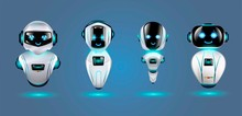 Cute 3d Chat Bot Characters Set. Vector Illustration.