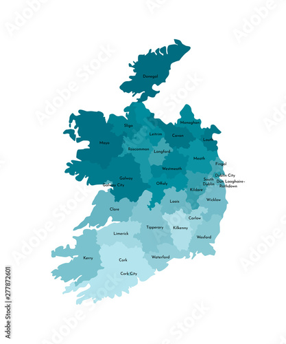 Vector isolated illustration of simplified administrative map of Republic of Ireland Canvas Print