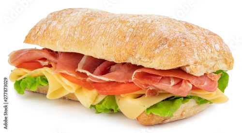 Wall Murals Snack Ciabatta sandwich with lettuce, tomatoes prosciutto and cheese isolated on white background