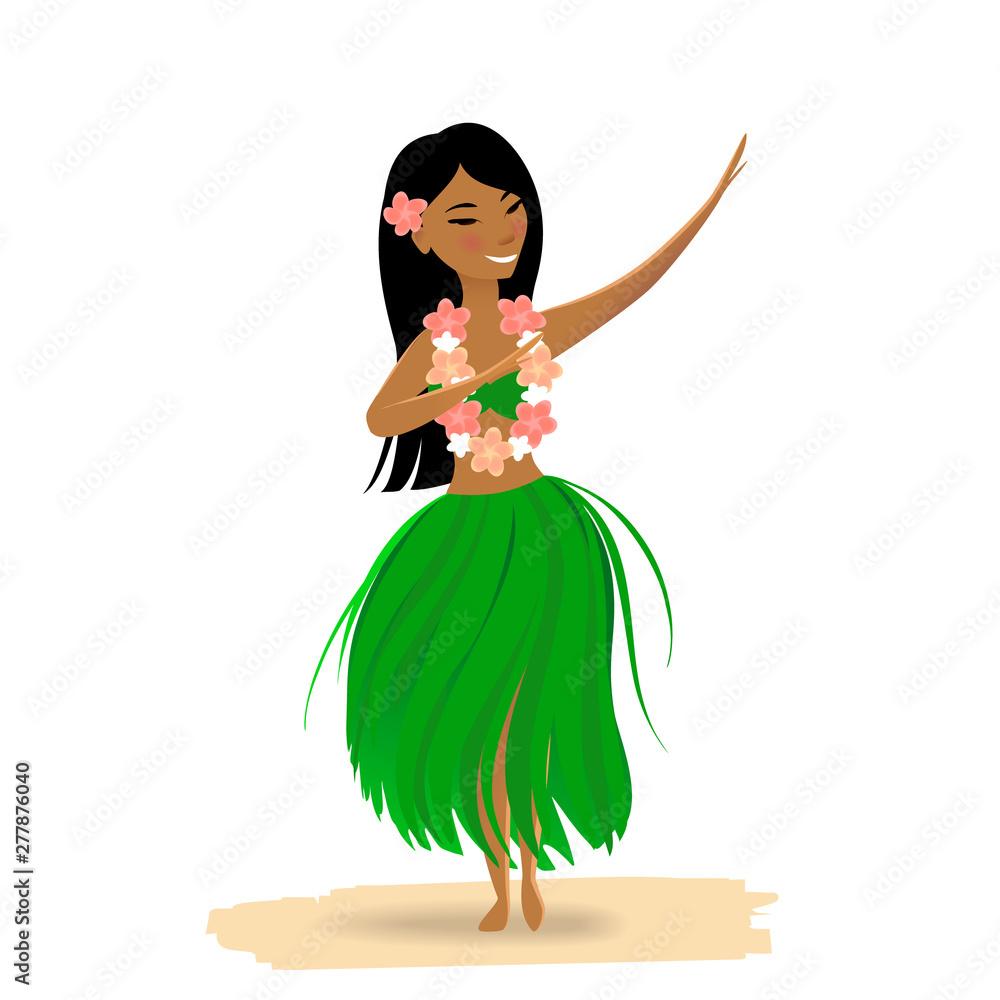 Fototapeta Hawaiian girl dancing hula isolated on white background. Cute polynesian dancer in costume, grass skirt, flower in hair, hawaiian lei.