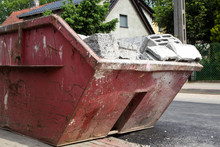 Red Container Filled With Debris After The Building Demolition - Demolition Container Background