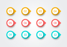 Vector Number Bullet Point Retro Color 3d Markers 1 To 12
