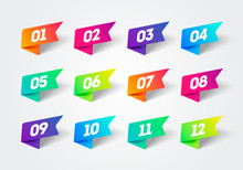 Vector Number Bullet Point 1 To 12 Colorful Label Ribbons Set