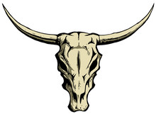 Bull Or Cow Skull With Horns, Vector Logo Design Element, Isolated On White Background.