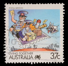 Stamp Printed In Australia Shows Living Together, Celebrating Postal Service, Circa 1988
