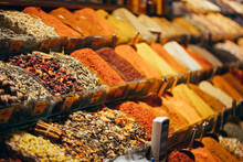 Displays Of Products On Offer In The World Famous Spice Market In Istanbul Turkey
