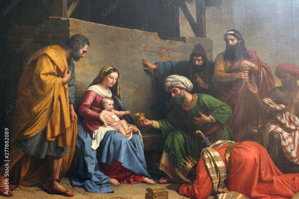 Fototapety, obrazy: Nativity Scene, Adoration of the Magi, Saint Etienne du Mont Church, Paris
