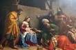 canvas print picture - Nativity Scene, Adoration of the Magi, Saint Etienne du Mont Church, Paris