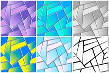 Seamless Texture Of Stained Glass. Repeat Abstract Background With Geometric Polygons