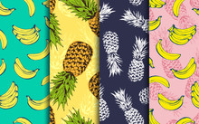 Pineapple And Banana Decorative Seamless Patterns Set, Vector Collection Of Food Fruits Background, For Hawaiian Shirt, Food Wrapping, Textile