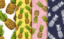 Pineapple Decorative Seamless Patterns Set, Vector Collection Of Food Fruits Background, For Hawaiian Shirt, Food Wrapping, Textile