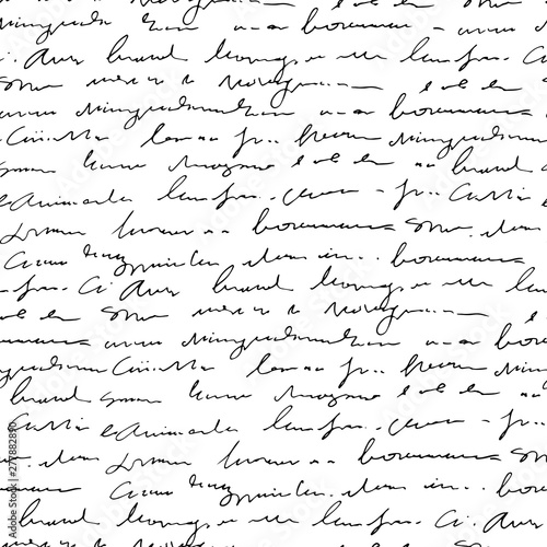 handwritten-abstract-text-seamless-pattern-vector-monochrome-script-background