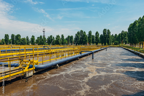 Keuken foto achterwand Kanaal Modern wastewater treatment plant. Tanks for aeration and biological purification of sewage