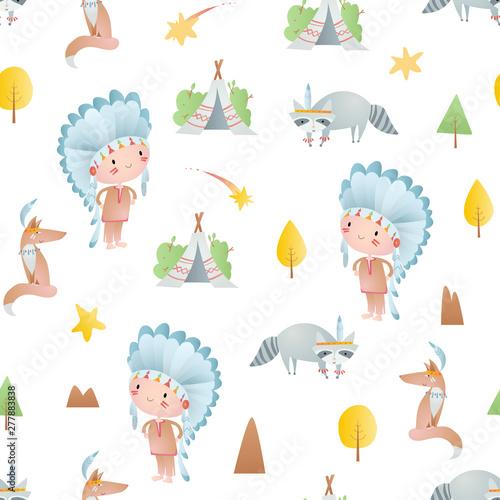 Obraz na płótnie Seamless pattern with  injuns, wigwams, trees