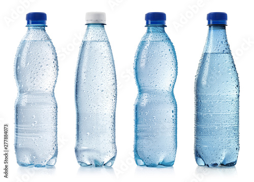 Fototapeta Collection of various cold bottles of water with drops obraz