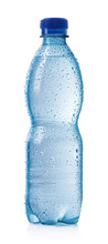 Light Blue Bottle Of Cold Water With Drops