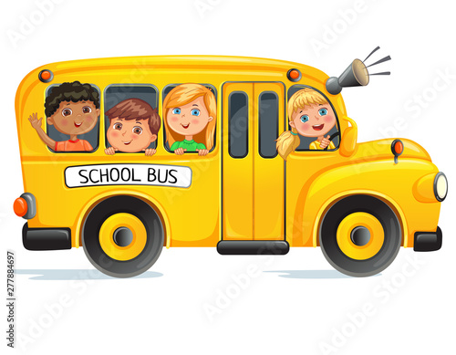 School bus with kids Canvas Print