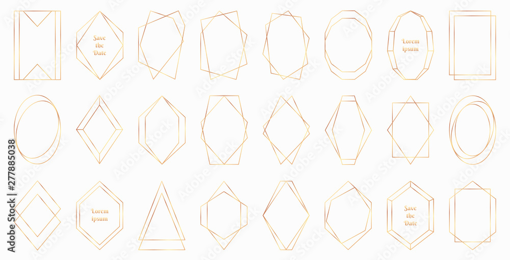 Fototapety, obrazy: Gold polygonal frames collection isolated on white background. Modern decorative art deco style vector illustration - perfect decision for wedding invitations, birthday cards, luxury posters etc.