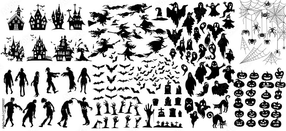 Fototapety, obrazy: Collection of halloween silhouettes icon and character., witch, creepy and spooky elements for halloween decorations, silhouettes, sketch, icon, sticker. Hand drawn vector illustration - Vector