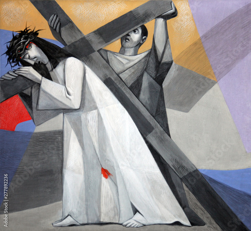 Fototapeta 5th Stations of the Cross, Simon of Cyrene carries the cross, Church of the Holy
