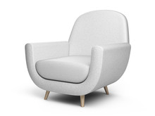 White Color Armchair. Style Modern Chair Isolated On A White Background.