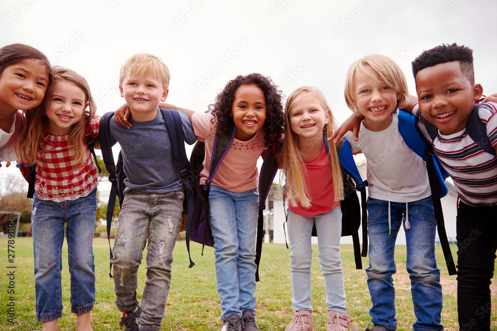 Fototapety, obrazy: Portrait Of Excited Elementary School Pupils On Playing Field At Break Time