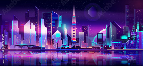 Poster Violet Future metropolis on seacoast, extraterrestrial space colony city flat vector with futuristic skyscrapers illuminating at night with fluorescent, neon lights, reflecting in bay calm water illustration