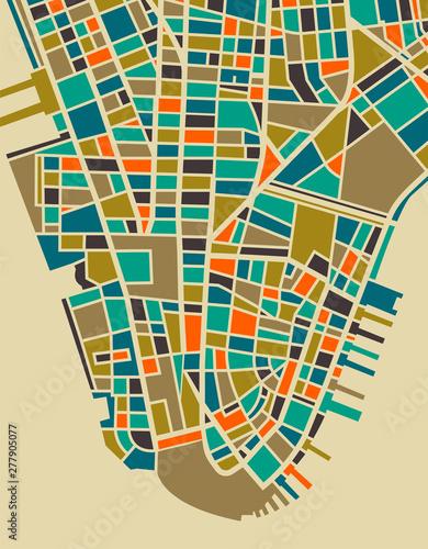 Photo New York Colourful City Plan