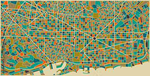 Barcelona Colourful City Plan Wallpaper Mural