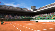 Empty Clay Tennis Court With S...