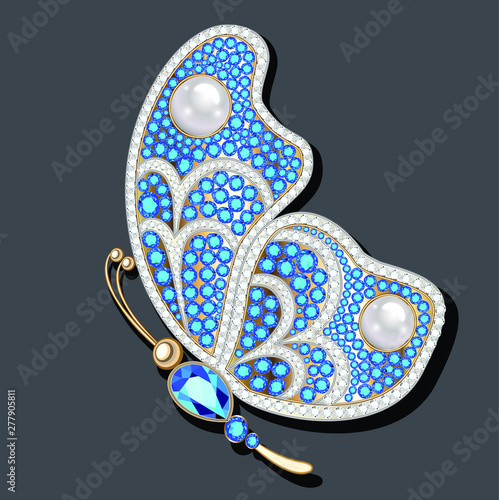 Tela Jewelry gold butterfly brooch pendant in precious stones